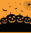 halloween poster in flat design with grinning vector image