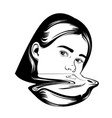 hand drawn of girl in surrealistic style tattoo vector image vector image