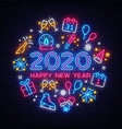 happy new year 2020 neon icons set merry vector image
