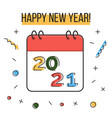 happy new year 2021 greeting card colorful liner vector image vector image