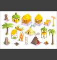 jungle tribal living houses and other objects vector image