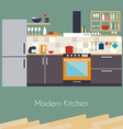 Kitchen interior Flat design kitchen concept vector image vector image