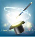 magic wand and hat on a bright background vector image vector image