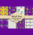 mardi gras carnival set of seamless pattern with vector image vector image