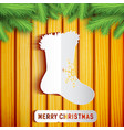 merry christmas wooden background vector image vector image
