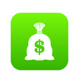 money bag with us dollar sign icon digital green vector image vector image