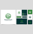 mountain logo design line style and business card vector image