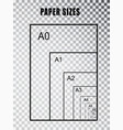 paper size series a isolated on transparent vector image vector image