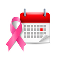 Pink awareness ribbon and calendar vector image vector image