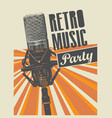 poster for a retro party with microphone vector image vector image