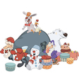 Santa Claus and his helpers cartoon vector image vector image