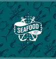 seafood logo on seamless pattern with tuna shrimp vector image vector image