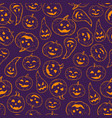 seamless halloween pattern background of contour vector image