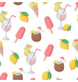 seamless pattern ice cream cocktail fruit vector image