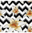 seamless pattern with image tiger lily flowers on vector image vector image