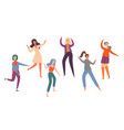 set group young happy dancing people dancers vector image