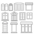 set of various windows with awnings vector image vector image