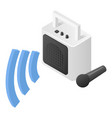 speaker and microphone icon isometric style vector image vector image