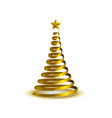 spiral golden christmas tree vector image
