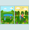 summer and spring views landscape with people vector image vector image