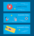 summer pool poster text set vector image vector image