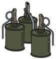 three old offensive hand grenades vector image vector image