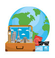 travel luggage cartoon vector image vector image