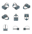 virtual reality headsets icons set 3d isometric vector image