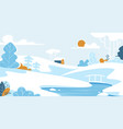 winter landscape with lonely house or chalet vector image
