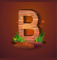 wooden letter b decorated with grass vector image