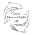 world whale and dolphin day silhouettes dolphin vector image