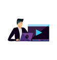 young man using laptop and media player template vector image vector image