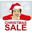young man wearnig santa hat leaned on blank board vector image vector image