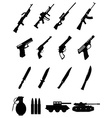 military weapons icons set vector image