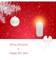Christmas card in red On her white fir branch vector image