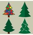 Christmas tree cartoon icons set Green silhouette vector image