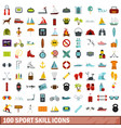 100 sport skill icons set flat style vector image vector image