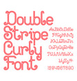 beautiful red double stripe curly font vector image