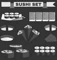 Big black and white icon set of sushi vector image vector image