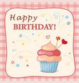 birthday card with cake hearts and text vector image vector image
