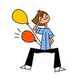 boy holding balloon vector image vector image