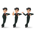 businessman in black suit stand leaning against vector image vector image