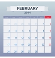 Calendar to schedule monthly February 2014 vector image vector image