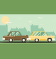 car crash two cars hit flat design vector image vector image