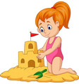 cartoon happy girl making sand castle vector image