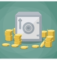 closed small safe box and stacks of gold coins vector image
