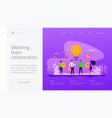 collaboration landing page template vector image vector image