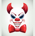 creepy clown mask angry joker face vector image vector image