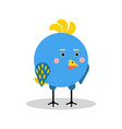 cute cartoon blue bird character in geometric vector image vector image