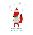 cute fox in christmas hat vector image vector image